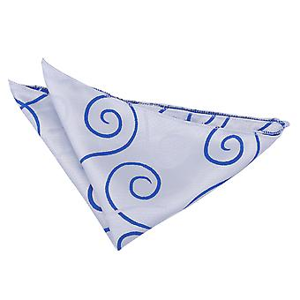 Silver & Royal Blue przewijania Pocket Square