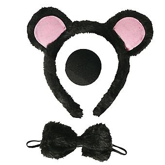 Set de souris 3-PC Haarrief avec oreilles nez boucle tierkostüm accessoire Carnaval