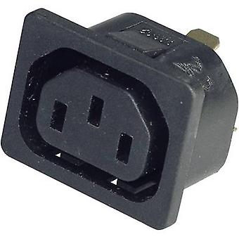 Kaiser 796/10/63/sw/C IEC connector 796 Socket, vertical vertical Total number of pins: 2 + PE 10 A Black 1 pc(s)