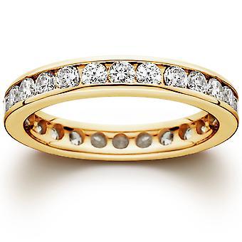 Canal 1 1/2 CT establece la eternidad diamante anillo 14K amarillo oro