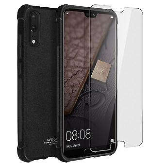 iMak full cover, hardcase for Huawei P20 + hydrogel screen protector – Black