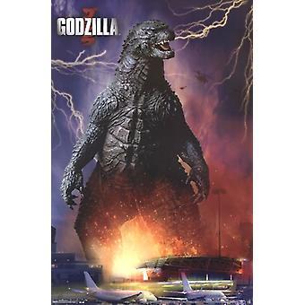 Godzilla - aéroport Poster Print