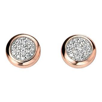 Delar Silver Cubic Zirconia Cabochon örhängen - Silver/Rose guld/klar