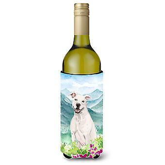 Mountian Flowers White Staffie Bull Terrier Wine Bottle Beverage Insulator Hugge