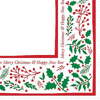 Jolly Holly Christmas Napkins 2 Ply 40cm
