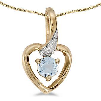 LXR 14k الذهب الأصفر جولة أكوامارين وقلادة القلب الماس 0.19ct