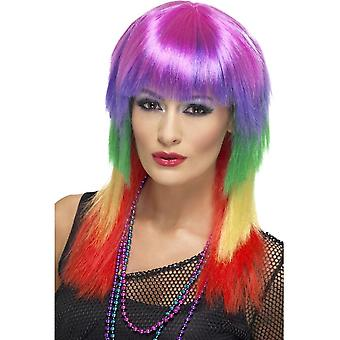 Long Rainbow Coloured Straight Wig, Rainbow Rocker Wig, With Fringe