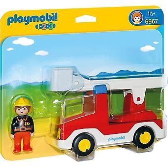 Playmobil 6967 1.2.3 stege enhet brandbil med brandman leksak