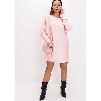 Oversized Knit Batwing Jumper Dress Pink
