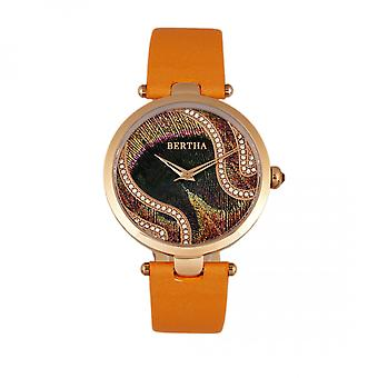 Bertha Trisha nahka-bändi katsella w/Swarovski kiteet - oranssi