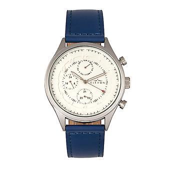 Elevon Lindbergh Leather-Band Watch w/Day/Date -Blue/White