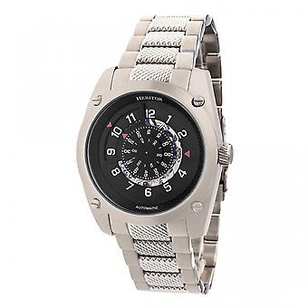 Heritor Daniels automático relógio do bracelete semi esqueleto - prata