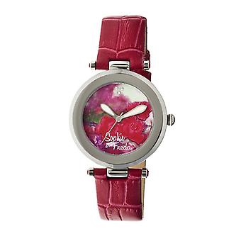 Sophie & Freda Butchart Leather-Band Ladies Watch - Red
