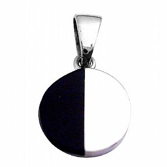 Round Sterling Silver Pendant Half Shaded Onyx Black & Silver Pendant