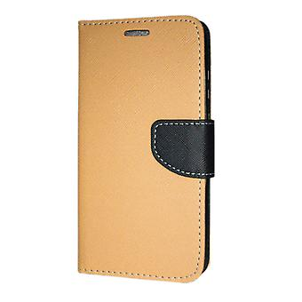 Huawei Y6 2018 Wallet Case Fancy Case + wrist Strap Gold
