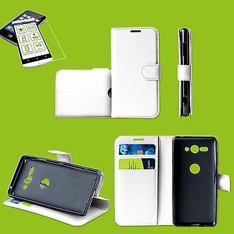 För Samsung Galaxy A50 A505F/A30s A307F Case Wallet Premium vitt skydd fall fall fodral + 0,26 mm H9 2,5 hårt glas