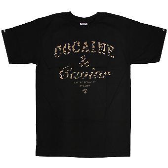 Bandidos & castelos cocaína & Caviar leopardo t-shirt preto