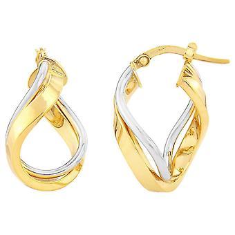 Mark Milton loop runt Hoop Örhängen-gult guld/silver