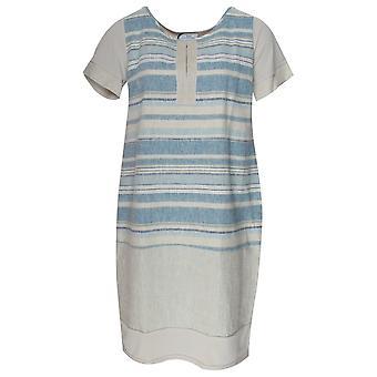 Vlt's By Valentina's Short Sleeve Blue Stripped Linen Dress