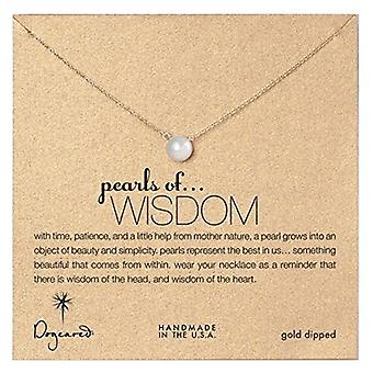 Dogeared Large Pearls of Wisdom White Pearl Gold Dipped Necklace - P02022