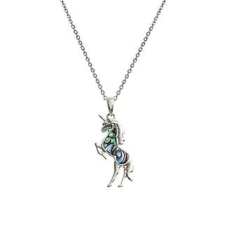 Eternal Collection Ulysses Paua Shell Unicorn Silver Tone Pendant Necklace
