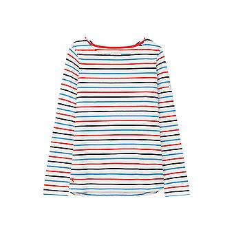 Joules Harbour Womens Long Sleeve Jersey Top - Cream Navy Red Blue