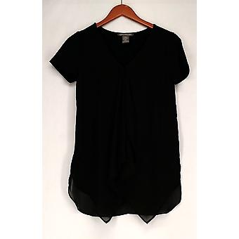 Kate & Mallory top mixed media korte Sleeveed front Ruffle zwart A426071