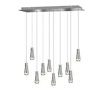 Industri Vintage Chrome 10 hänge tak ljus matbord belysning rektangulära kapellet
