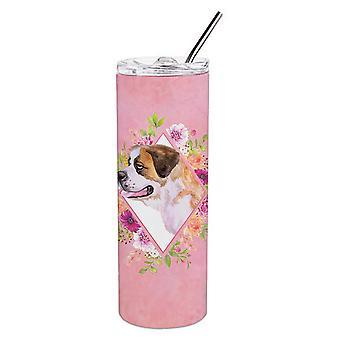 Saint Bernard #1 roze bloemen dubbelwandig RVS 20 oz mager tuimelaar