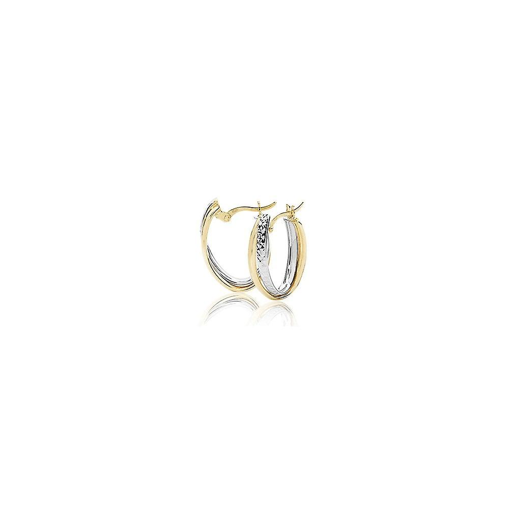 Eternity 9ct 2 Colour Gold Oval Creole Hoop Earrings