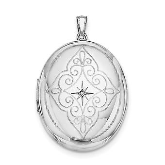 925 Sterling Silver Polished Patterned Holds 2 photos et Diamond Center With Swirls 34mm Oval Locket Jewelry Gifts for