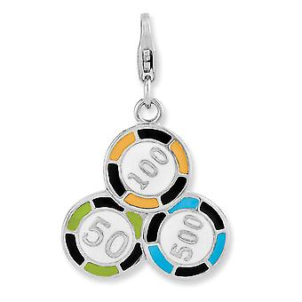 925 Sterling Silver Polished Fancy Lobster Closure Enameled Casino Chips With Lobster Clasp Charm Pendant Necklace Jewel