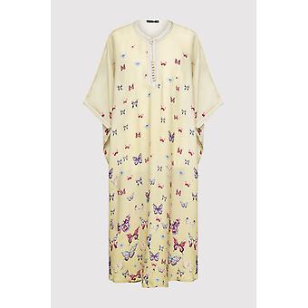 Gandoura dara girl's maglia corta butterfly print maxi dress maxi in giallo (2-12 anni)