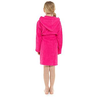Girls Hooded Soft 100% Cotton Dressing Gown Bathrobe
