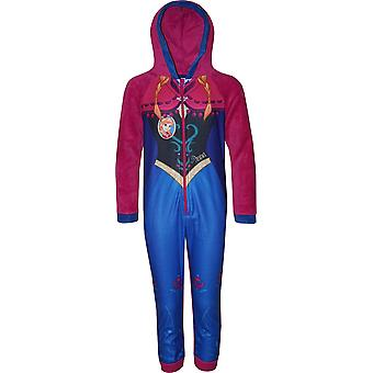 Girls HS2095 Disney Frozen Fleece Hooded Sleepsuits / Onesie Pyjamas