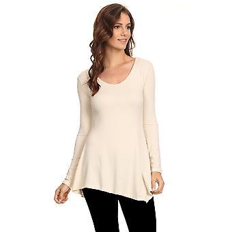 Women's Long Sleeve Ribbed Shirt Handkerchief Hem Tunic