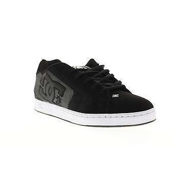 DC Net SE  Mens Black Leather Low Top Lace Up Skate Sneakers Shoes