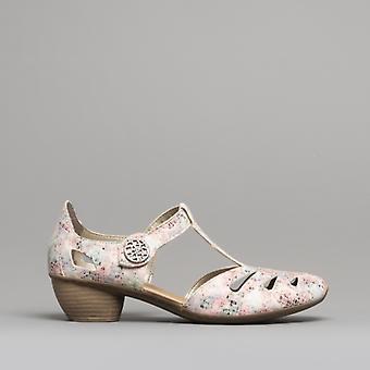 Rieker 43750-90 Damen Block Ferse Schuhe Nude/Multi