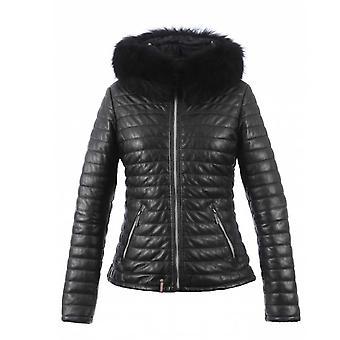 Oakwood Happy 1 Black Leather Fur Trimmed Jacket