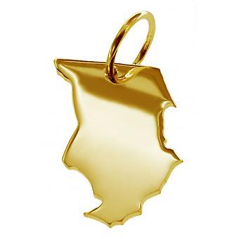 Hänge karta kedja hänge i guldgult-guld i form av TSCHAD
