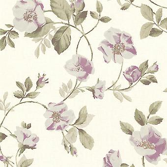 Claremont Fine Decor Purple Floral Cream Wallpaper
