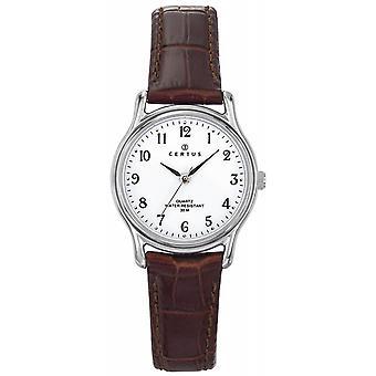 Klocka Certus 644279-silver Steel Box rund läder Brown kvinnors armband