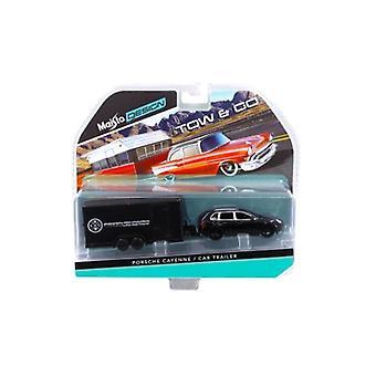 Porsche Cayenne Black and Car Trailer Tow & Go 1/64 Diecast Model by Maisto