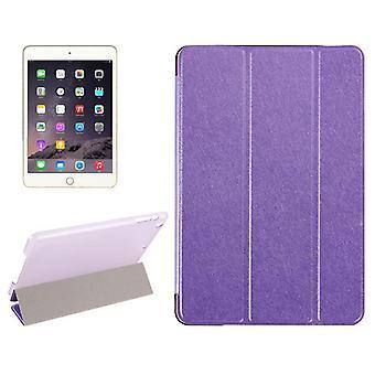IPad Mini 4 tapauksessa, moderni silkki kuvioitu 3-kertainen nahka folio kansi, violetti