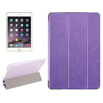 For iPad Mini 4 Case,Modern Silk Textured 3-fold Leather Folio Cover,Purple
