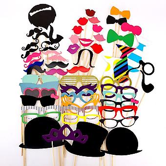 60 Pcs. Party Photo Trim Mustache Glasses Lips Tie Hats Photo Booth Props Set Wedding Party Gift Accessories