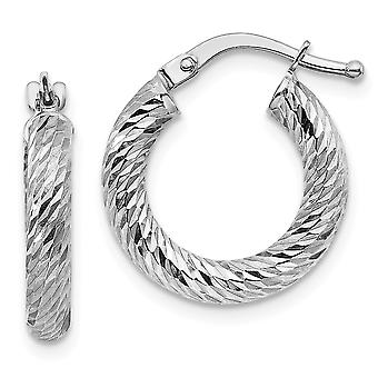 10k 3x10 White Gold Sparkle Cut Round Hoop Earrings Jewelry Gifts for Women - 1.3 Grams