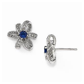 Cheryl M 925 Sterling Silver Cubic Zirconia og simuleret Blue Spinel Fancy Post Øreringe smykker gaver til kvinder