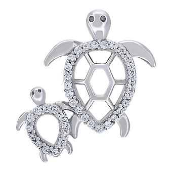 925 Sterling Silver Mens Women CZ Mom and Child Turtle Charm Pendant Necklace Measures 21.7x18.6mm Wide Jewelry Gifts fo