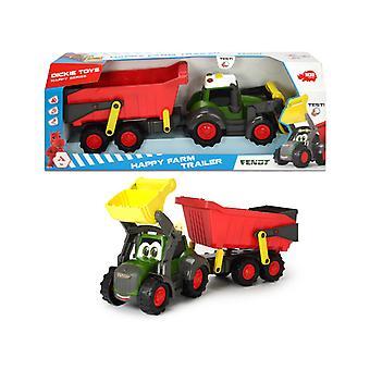 Dickie Toys Happy Farm Fendt Tractor + Aanhanger met Licht en Geluid